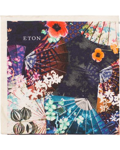 Eton Printed Flower Cotton/Silk Pocket Square Multi  i gruppen Accessoarer / Näsdukar hos Care of Carl (13285710)