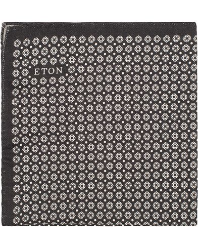 Eton Medallion Wool/Silk Pocket Sqaure Black i gruppen Accessoarer / Näsdukar hos Care of Carl (13285810)