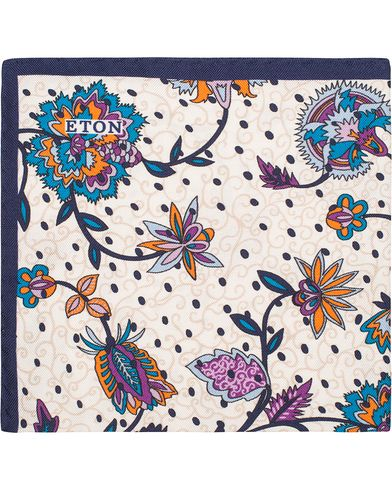 Eton Big Flower Silk Pocket Square White/Blue  i gruppen Accessoarer / Näsdukar hos Care of Carl (13286110)