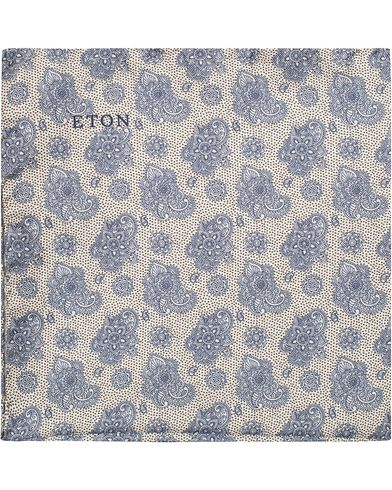 Eton Paisley Silk Pocket Square White/Blue  i gruppen Accessoarer / Näsdukar hos Care of Carl (13286210)