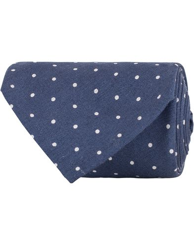 Eton Seven-Fold Cotton 8cm Tie Dot Blue  i gruppen Accessoarer / Slipsar hos Care of Carl (13287010)