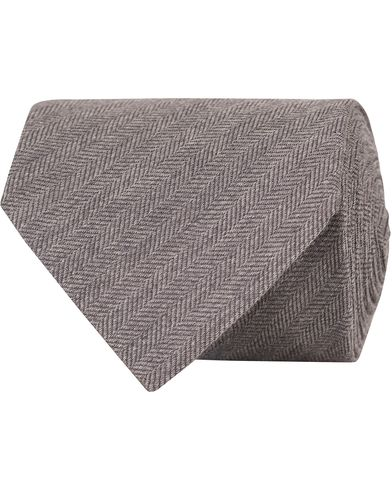 Eton Herringbone Wool/Silk 8cm Tie Grey  i gruppen Assesoarer / Slips hos Care of Carl (13287110)