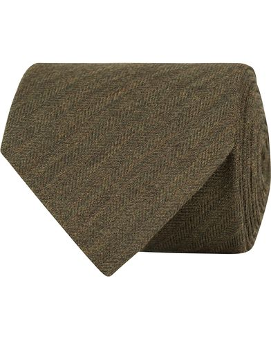 Eton Herringbone Wool/Silk 8cm Tie Green  i gruppen Assesoarer / Slips hos Care of Carl (13287210)