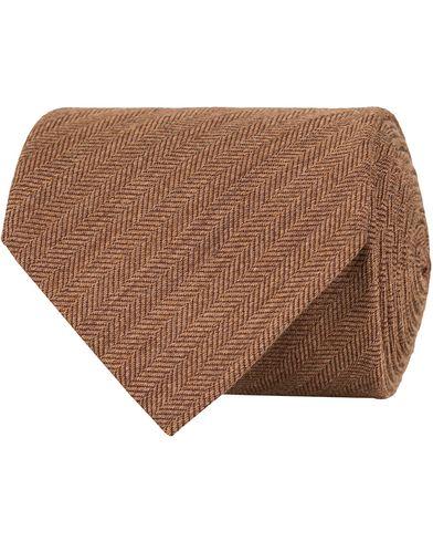 Eton Herringbone Wool/Silk 8cm Tie Brown  i gruppen Accessoarer / Slipsar hos Care of Carl (13287310)