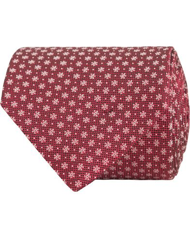 Eton Micro Flower Silk 8cm Tie Red  i gruppen Accessoarer / Slipsar hos Care of Carl (13287610)