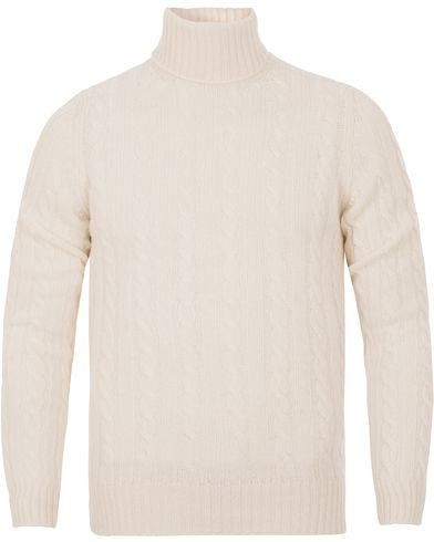 Zanone Cable Wool Geelong Knit Polo White i gruppen Kläder / Tröjor / Polotröjor hos Care of Carl (13289011r)