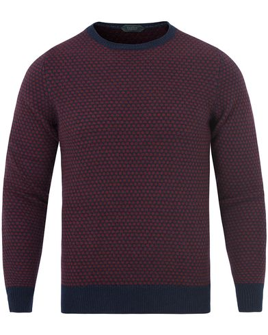 Zanone Crew Neck Virgin Wool/Angora Navy/Amarena Red i gruppen Tr�jor / Stickade Tr�jor hos Care of Carl (13289111r)