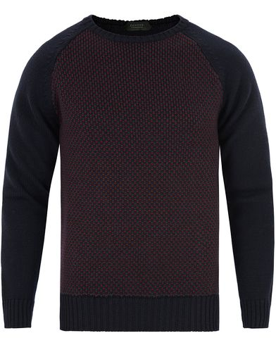 Zanone Crew Neck Raglan Navy/Bordeaux i gruppen Gensere / Strikkede gensere hos Care of Carl (13289211r)