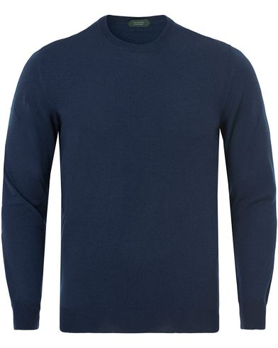 Zanone Flexwool Crew Neck Blue China i gruppen Klær / Gensere / Pullover / Pullovere rund hals hos Care of Carl (13289311r)