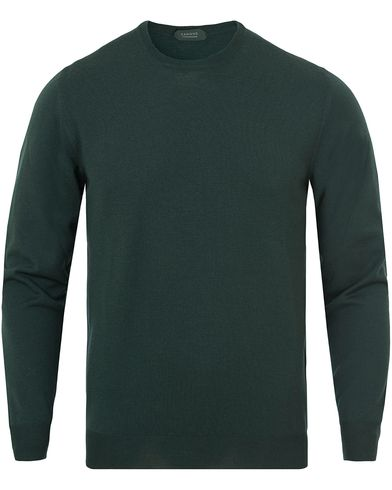Zanone Flexwool Crew Neck Racing Green i gruppen Gensere / Pullover / Pullover rund hals hos Care of Carl (13289411r)