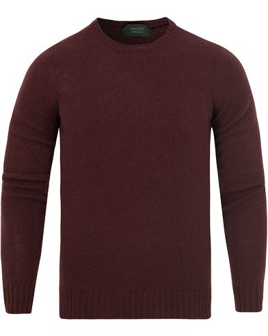 Zanone Crew Neck Virgin Wool Bordeaux Red i gruppen Design A / Gensere / Pullover / Pullovere rund hals hos Care of Carl (13289511r)