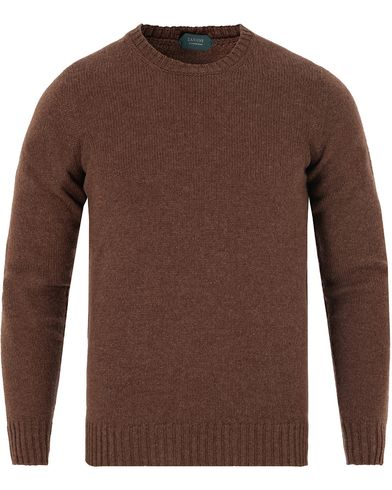 Zanone Crew Neck Virgin Wool Dark Brown i gruppen Tröjor / Pullovers / Rundhalsade pullovers hos Care of Carl (13289611r)