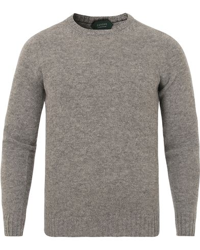 Zanone Crew Neck Virgin Wool Medium Grey i gruppen Kläder / Tröjor / Pullovers / Rundhalsade pullovers hos Care of Carl (13289811r)