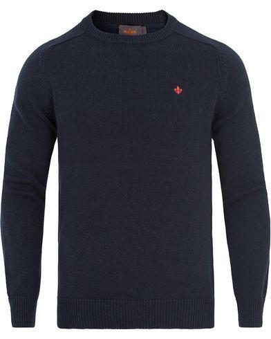 Morris Lily Cotton Knit Oneck Navy i gruppen Kläder / Tröjor / Pullovers / Rundhalsade pullovers hos Care of Carl (13293711r)