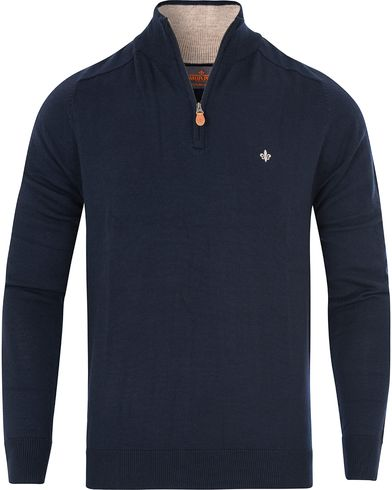 Morris Merino John Half Zip Sweater Navy i gruppen Gensere / Zip-gensere hos Care of Carl (13293911r)