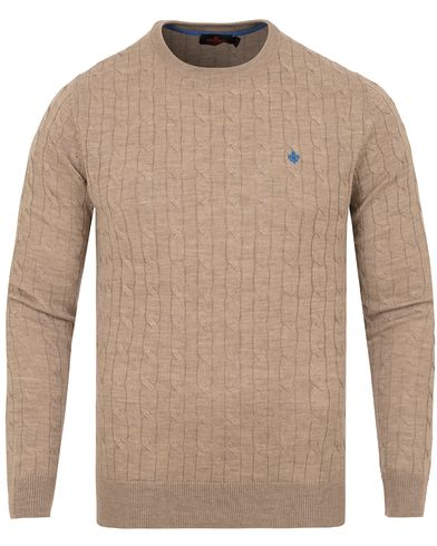 Morris Merino Cable O-neck Khaki i gruppen Tr�jor / Stickade Tr�jor hos Care of Carl (13294211r)