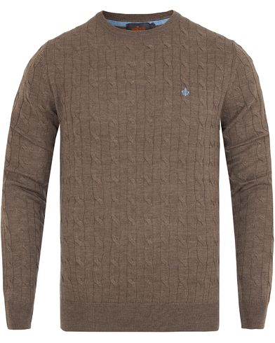 Morris Merino Cable O-neck Brown i gruppen Klær / Gensere / Strikkede gensere hos Care of Carl (13294511r)