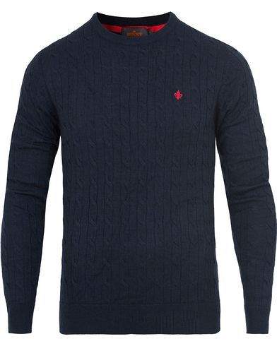 Morris Merino Cable O-neck Navy i gruppen Gensere / Strikkede gensere hos Care of Carl (13294711r)