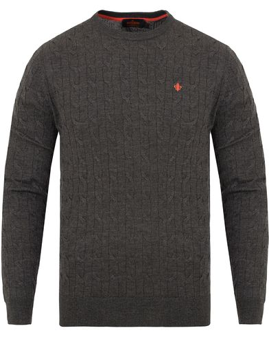 Morris Merino Cable O-neck Grey i gruppen Tr�jor / Stickade Tr�jor hos Care of Carl (13294811r)