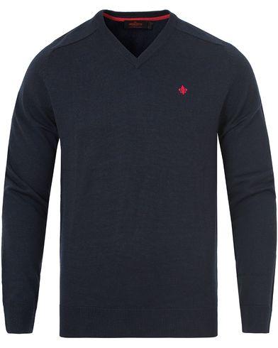 Morris Merino V-neck Navy i gruppen Kläder / Tröjor / Pullovers / V-ringade pullovers hos Care of Carl (13294911r)