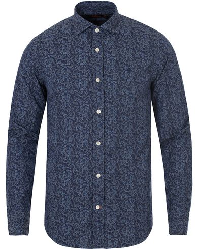 Morris New Barrel Micro Flower Print Shirt Navy i gruppen Klær / Skjorter / Casual skjorter hos Care of Carl (13299411r)