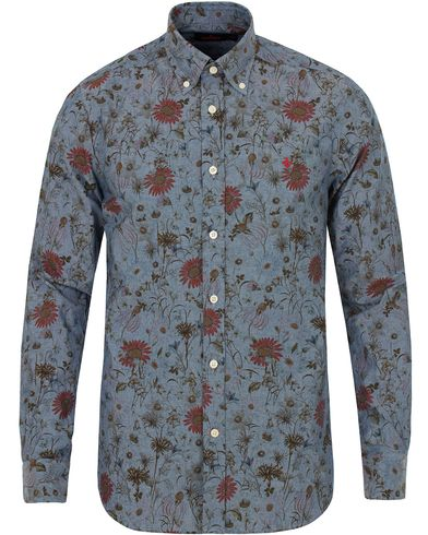 Morris Douglas Flower Shirt Denim i gruppen Skjortor / Jeansskjortor hos Care of Carl (13299511r)