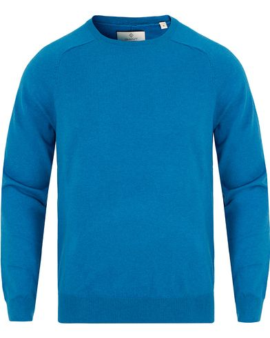Gant Diamond G Cotton/Cashmere Crew Neck Teal Blue i gruppen Gensere / Pullover / Pullover rund hals hos Care of Carl (13307311r)