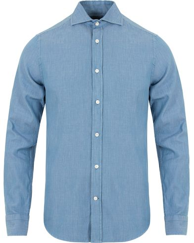 Gant Diamond G Luxe Denim Fitted Body Shirt Light Indigo i gruppen Skjorter / Casual Skjorter hos Care of Carl (13307411r)