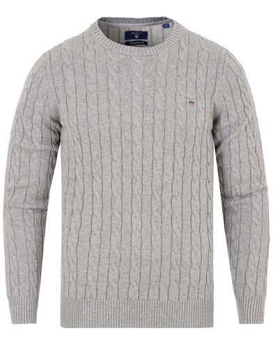 GANT Cotton Cable Crew Pullover Grey Melange i gruppen Kläder / Tröjor hos Care of Carl (13310811r)