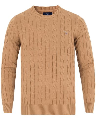 Gant Cotton Cable Crew Pullover Warm Khaki i gruppen Gensere / Pullover / Pullovere rund hals hos Care of Carl (13310911r)