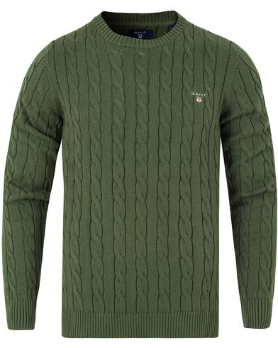 Gant Cotton Cable Crew Pullover Moss Green i gruppen Tröjor / Pullovers / Rundhalsade pullovers hos Care of Carl (13311011r)