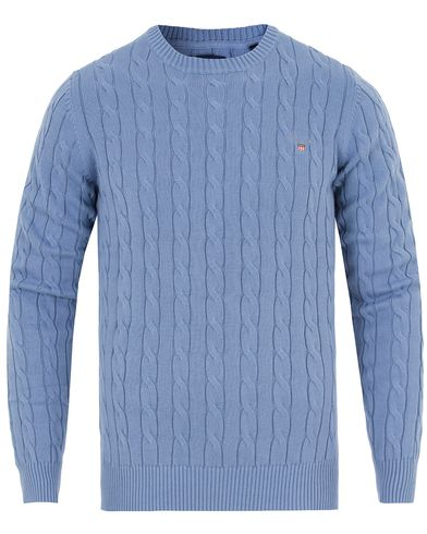 Gant Cotton Cable Crew Pullover Night Fall Blue i gruppen Gensere / Strikkede gensere hos Care of Carl (13311111r)