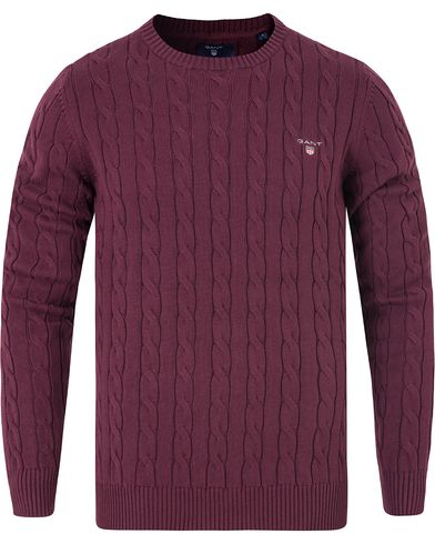 Gant Cotton Cable Crew Pullover Purple Fige i gruppen Kläder / Tröjor / Pullovers / Rundhalsade pullovers hos Care of Carl (13311211r)