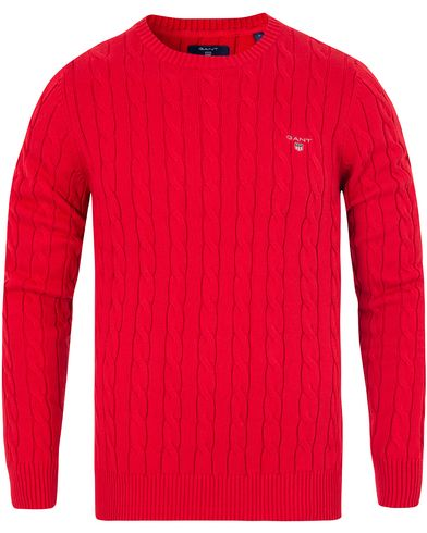 Gant Cotton Cable Crew Pullover Clear Red i gruppen Klær / Gensere / Strikkede gensere hos Care of Carl (13311311r)