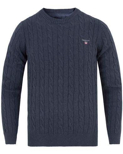 Gant Cotton Cable Crew Pullover Dark Blue Indigo i gruppen Tröjor / Stickade tröjor hos Care of Carl (13311511r)