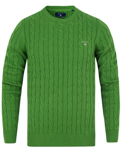 Gant Cotton Cable Crew Pullover Birch Green i gruppen Gensere / Pullover / Pullovere rund hals hos Care of Carl (13311611r)