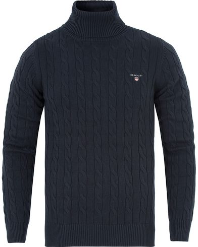 Gant Cotton Cable Turtleneck Evening Blue i gruppen Gensere / Pologensere hos Care of Carl (13311911r)