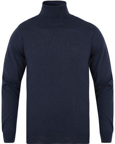 Gant Fine Merino Wool Turtleneck Marine i gruppen Design B / Kläder / Tröjor / Polotröjor hos Care of Carl (13312211r)