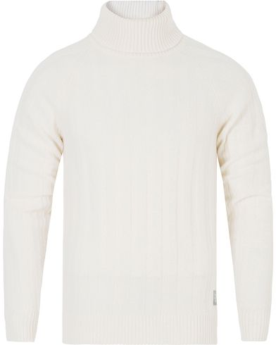 Gant Rib Wool Turtleneck Off White i gruppen Gensere / Pologensere hos Care of Carl (13312511r)
