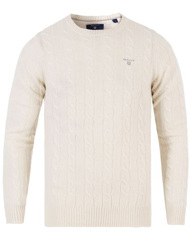 Gant Lambswool Cable Crew Pullover Off White i gruppen Tröjor / Pullovers / Rundhalsade pullovers hos Care of Carl (13312811r)