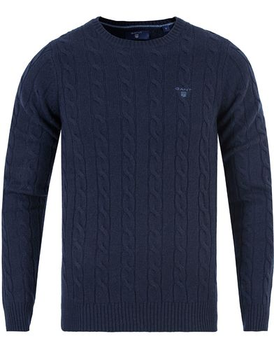Gant Lambswool Cable Crew Pullover Evening Blue i gruppen Gensere / Pullover / Pullovere rund hals hos Care of Carl (13312911r)