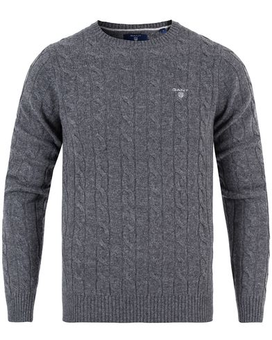 Gant Lambswool Cable Crew Pullover Antracite Melange i gruppen Gensere / Pullover / Pullover rund hals hos Care of Carl (13313211r)