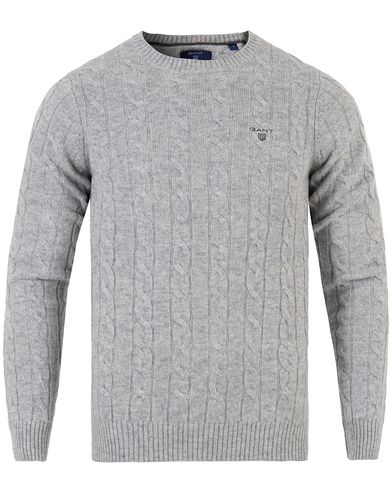 GANT Lambswool Cable Crew Pullover Light Grey Melange i gruppen Kläder / Tröjor / Pullovers / Rundhalsade pullovers hos Care of Carl (13313311r)