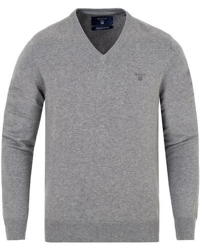 Gant Lightweight Cotton V-Neck Dark Grey Melange i gruppen Tröjor / Pullovers / V-ringade pullovers hos Care of Carl (13313411r)