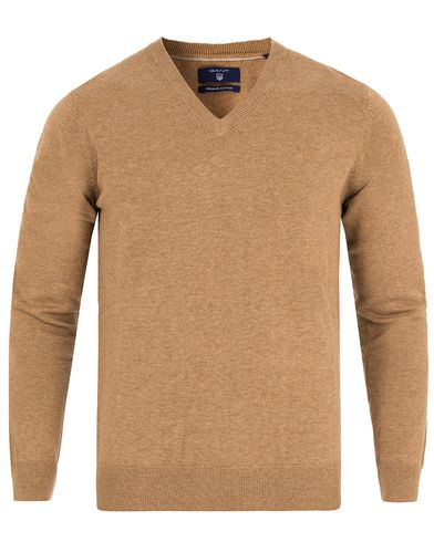Gant Lightweight Cotton V-Neck Dark Sand Melange i gruppen Tröjor / Pullovers / V-ringade pullovers hos Care of Carl (13313511r)