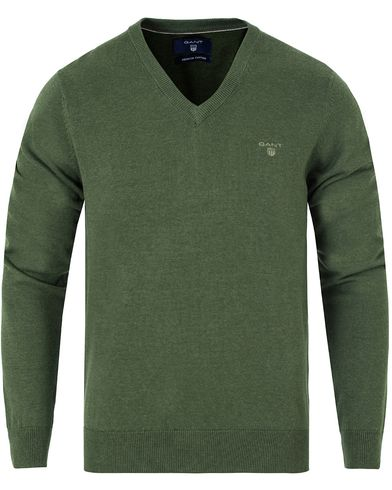 GANT Lightweight Cotton V-Neck Forrest Green Melange i gruppen Klær / Gensere / Pullover / Pullovers v-hals hos Care of Carl (13313611r)