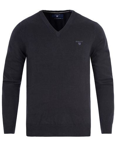 GANT Lightweight Cotton V-Neck Navy i gruppen Kläder / Tröjor / Pullovers / V-ringade pullovers hos Care of Carl (13313711r)