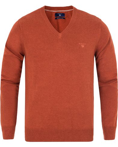 GANT Lightweight Cotton V-Neck Rust Melange i gruppen Klær / Gensere / Pullover / Pullovers v-hals hos Care of Carl (13313811r)