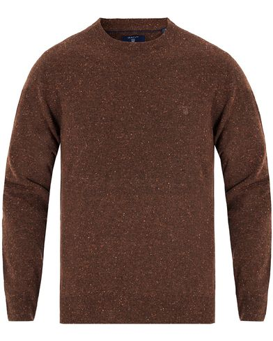 Gant Donegal Lambswool Crew Neck Dark Brown Melange i gruppen Tröjor / Pullovers / Rundhalsade pullovers hos Care of Carl (13313911r)