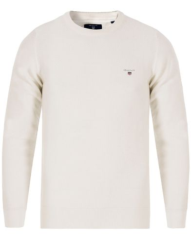 Gant Texture Cotton Crew Neck Eggshell i gruppen Tr�jor / Pullover / Pullover Rundhals hos Care of Carl (13314111r)